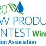 logo NEW PRODUCT CONTEST, con scritta omonima in blu e verde chiude pay off 'irrigation association'